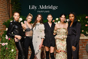 Romee Strijd, Stella Maxwell, Taylor Hill, Elsa Hosk, Lily Aldridge and Jasmine Tookes pose for a photo during the Lily Aldridge parfums launch event at The Bowery Terrace at the Bowery Hotel on September 08, 2019 in New York City.