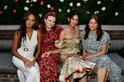 (L-R) Joan Smalls, Karen Elson, Lily Aldridge, and Tabitha Simmons pose for a photo during the Lily Aldridge parfums launch event at The Bowery Terrace at the Bowery Hotel on September 08, 2019 in New York City.
