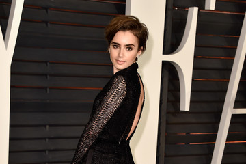 Lily Collins Arrivals at the Elton John AIDS Foundation Oscars Viewing Party — Part 5
