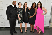 (L-R) James Monroe Iglehart, Tina Fey, Ashley Brown, Audra McDonald and Lindsay Mendez attend Lincoln Center Hall Of Fame Gala at the Alice Tully Hall on June 6, 2017 in New York City.