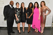 (L-R) James Monroe Iglehart, Tina Fey, Ashley Brown, Audra McDonald, Lindsay Mendez and Norah O'Donnell attend Lincoln Center Hall Of Fame Gala at the Alice Tully Hall on June 6, 2017 in New York City.