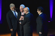 (L-R) Jose Placido Domingo, Chairman at LA Opera, Marc Stern, Marc Scorca and Alvaro Maurizio Domingo onstage at Lincoln Center Hall Of Fame Gala at the Alice Tully Hall on June 6, 2017 in New York City.