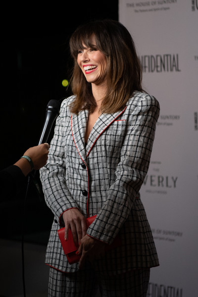 Los Angeles Confidential Magazine Celebrates The Emmys With Linda Cardellini [clothing,plaid,hairstyle,outerwear,shoulder,fashion,design,pattern,long hair,photography,linda cardellini,emmys,los angeles,california,kimpton everly hotel,los angeles confidential magazine celebrates the emmys,los angeles confidential magazine]