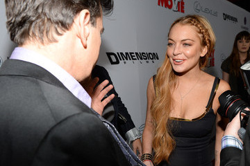 Lindsay Lohan Charlie Sheen Arrivals at the 'Scary Movie 5' Premiere