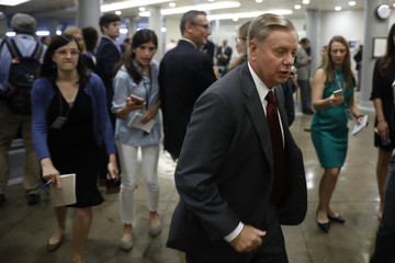 Lindsey Graham Senate Lawmakers Address The Media After Their Weekly Policy Luncheons