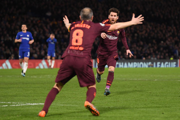 Lionel Messi Andres Iniesta Chelsea FC v FC Barcelona - UEFA Champions League Round of 16: First Leg