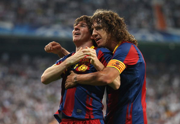 Photo of Carles Puyol & his friend football player  Lionel Messi - Training of Barcelona FC