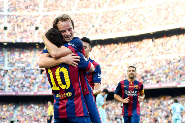 Photo of Ivan Rakitic & his friend football player  Lionel Messi - team
