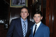 Actors Nicolas Cage and Tye Sheridan attend the 'Joe' screening hosted by Lionsgate And Roadside Attractions With The Cinema Society after party at Chalk Point Kitchen on April 9, 2014 in New York City.
