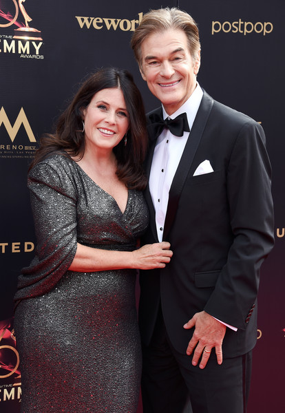 46th Annual Daytime Emmy Awards - Arrivals [suit,formal wear,event,premiere,tuxedo,carpet,flooring,smile,arrivals,mehmet oz,lisa oz,pasadena civic center,california,daytime emmy awards]