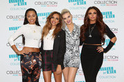 Singers Leigh-Anne Pinnock, Jade Thirwall, Jesy Nelson and Perrie Edwards of British girl band Little Mix at the launch of their new makeup range in London.