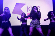 (EXCLUSIVE COVERAGE)  Perrie Edwards, Jade Thirlwall, Jesy Nelson and Leigh-Anne Pinnock from Little Mix perform for KISS FM at The KISS Secret Sessions gig on July 10, 2015 in London, England.