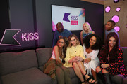Jade Thirlwall, Perrie Edwards, Leigh-Anne Pinnock and Jesy Nelson of Little Mix met Rickie, Melvin and Charlie from KISS FM UK's Breakfast show on May 21, 2015 in London, England.