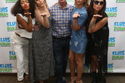 """Leigh-Anne Pinnock, Perrie Edwards, Jade Thirlwall and Jesy Nelson of Little Mix visit the """"The Elvis Duran Z100 Morning Show""""  with Elvis Duran (C) at Z100 Studio on August 20, 2015 in New York City."""