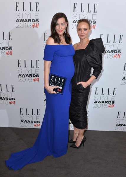 Elle Style Awards 2016 - Winners Room [clothing,shoulder,dress,premiere,carpet,red carpet,fashion,yellow,cobalt blue,flooring,liv tyler,stella mccartney,tv actress of the year,elle style awards,award,room,winners room,england,london,the elle style awards]