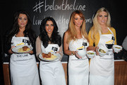 Lauren Goodger, Peri Sinclair, Lauren Pope and Frankie Essex compete against each other in two teams to create a dish based on 33p per person, the budget of someone living below the poverty line. In aid of Live Below the Line at Shoreditch Waterhouse on March 5, 2012 in London, England.