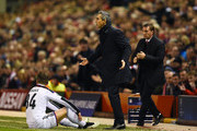 Paulo Sousa the head coach of FC Basel reacts after Taulant Xhaka of FC Basel is fouled during the UEFA Champions League group B match between Liverpool and FC Basel 1893 at Anfield on December 9, 2014 in Liverpool, United Kingdom.