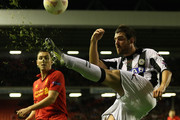 Andrea Lazzari of Udinese Calcio clears the ball during the UEFA Europa League Group A match between Liverpool and Udinese at Anfield on October 4, 2012 in Liverpool, England.