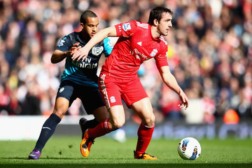 Theo Walcott Jose Enrique Liverpool v Arsenal - Premier League