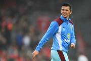 Joey Barton of Burnley warms up prior to the Premier League match between Liverpool and Burnley at Anfield on March 12, 2017 in Liverpool, England.
