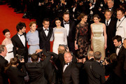 "Jessica Barden, Ben Whishaw, Lea Seydoux, Colin Farell, Rachel Weisz, Yorgos Lanthimos, Ariane Labed, Angeliki Papoulia, Michael Smiley and John C. Reilly attend the Premiere of ""The Lobster"" during the 68th annual Cannes Film Festival on May 15, 2015 in Cannes, France."