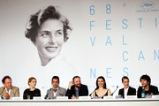 "(L-R) Actor John C. Reilly, actress Lea Seydoux, actor Colin Farrell, director Yorgos Lanthimos, actress Rachel Weisz, actress Ariane Labed, and actor Ben Whishaw attend the ""The Lobster"" press Conference during the 68th annual Cannes Film Festival on May 15, 2015 in Cannes, France."