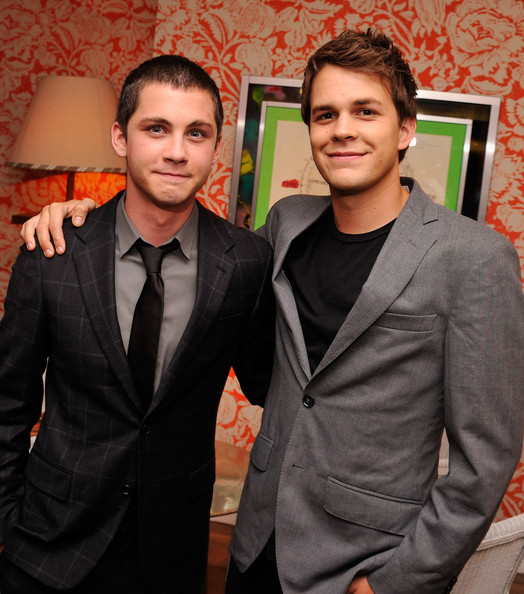 Photo of Logan Lerman & his friend actor  Johnny Simmons -