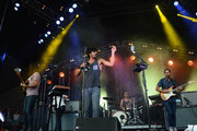 Payam Doostzadeh, Sameer Gadhia, Francois Comtois and Eric Cannata of Young the Giant performs during 2014 Lollapalooza Day Three at Grant Park on August 3, 2014 in Chicago, Illinois.