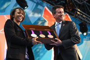 Dame Kelly Holmes and LOCOG Chairman Sebastian Coe present the olympic medals during  the' London 2012 - One Year To Go' ceremony in Trafalgar Square on July 27, 2011 in London, England. The one year countdown to the London 2012 Olympic games was marked with a unique ceremony in Trafalgar Square, with IOC President Jacques Rogge inviting the world's athletes to compete in next summer's games.