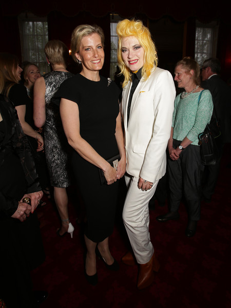 Sophie, Countess of Wessex and Pam Hogg attend a reception for the London College of Fashion at St James's Palace on April 28, 2015 in London, England.