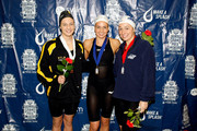 (L-R) Andrea Kropp, Rebecca Soni and Ariana Kukors pose after swimming in the Women's 200 Breaststroke Final during the Long Beach Grand Prix on January 17, 2010 in Long Beach, California.
