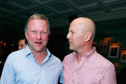 "Founder of Soho House Nick Jones  (L) and actor Bruce Willis attend ""Looper"" party hosted by Grey Goose at Soho House Toronto on September 6, 2012 in Toronto, Canada."