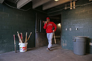 Raul Ibanez #28 of the Los Angeles Angels of Anaheim walks to the dugout from the clubhouse prior to the start of the game against the Detroit Tigers at Comerica Park on April 20, 2014 in Detroit, Michigan. The Tigers defeated the Angels 2-1.