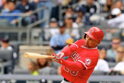 Raul Ibanez #28 of the Los Angeles Angels of Anaheim takes his turn at bat in the eighth inning against the New York Yankees on April 26, 2014 at Yankee Stadium in the Bronx borough of New York City.