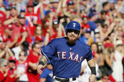 Josh Hamilton #32 of the Texas Rangers rounds third to score a run on a Elvis Andrus RBI double during the seventh inning of a baseball game against the Los Angeles Angels at Globe Life Park on October 4, 2015 in Arlington, Texas. Texas won 9-2 and won the AL West Title.