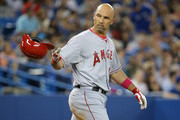 Raul Ibanez #28 of the Los Angeles Angels of Anaheim reacts after striking out to end the fifth inning during MLB game action against the Toronto Blue Jays on May 11, 2014 at Rogers Centre in Toronto, Ontario, Canada.
