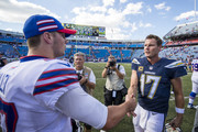 Josh Allen #17 of the Buffalo Bills shakes hands with Philip Rivers #17 of the Los Angeles Chargers after the game at New Era Field on September 16, 2018 in Orchard Park, New York. Los Angeles defeats Buffalo 31-20.