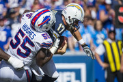 Jerry Hughes #55 of the Buffalo Bills sacks Philip Rivers #17 of the Los Angeles Chargers during the second half at New Era Field on September 16, 2018 in Orchard Park, New York. Los Angeles defeats Buffalo 31-20.