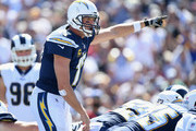 Quarterback Philip Rivers #17 of the Los Angeles Chargers calls a play at the line of scrimmage during the second quarter of the game against the Los Angeles Rams at Los Angeles Memorial Coliseum on September 23, 2018 in Los Angeles, California.