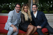 (L-R) Lawrence Zarian, Laverne Cox, and Gregory Zarian attend the Los Angeles Confidential Celebration for Portraits of Pride with GLAAD and Laverne Cox on June 4, 2018 in Beverly Hills, California.