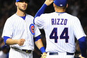 Kris Bryant #17 of the Chicago Cubs and Anthony Rizzo #44  celebrate their 4-2 win against the Dodgers on June 22, 2015 at Wrigley Field in Chicago, Illinois.