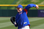Anthony Rizzo #44 of the Chicago Cubs takes infield practice prior to a spring training game against the Los Angeles Dodgers on March 6, 2018 in Mesa, Arizona.