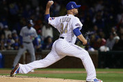 Starting pitcher Jon Lester #34 of the Chicago Cubs delivers the ball against the Los Angeles Dodgers during the home opening game at Wrigley Field on April 10, 2017 in Chicago, Illinois. The Cubs defeated the Dodgers 3-2.