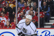 Robyn Regehr #44 of the Los Angeles Kings skates against the Calgary Flames during an NHL game at Scotiabank Saddledome on April 9, 2015 in Calgary, Alberta, Canada. The Flames defeated the Kings 3-1.