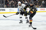 Pierre-Edouard Bellemare #41 of the Vegas Golden Knights shoots against Drew Doughty #8 of the Los Angeles Kings in the second period of Game One of the Western Conference First Round at T-Mobile Arena on April 11, 2018 in Las Vegas, Nevada. The Golden Knights won 1-0.