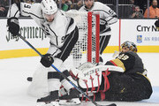 Marc-Andre Fleury #29 of the Vegas Golden Knights defends the net against Adrian Kempe #9 of the Los Angeles Kings in the third period of their preseason game at T-Mobile Arena on September 28, 2018 in Las Vegas, Nevada. The Golden Knights defeated the Kings 2-1.