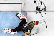 Marc-Andre Fleury #29 of the Vegas Golden Knights blocks a shot in front of Adrian Kempe #9 of the Los Angeles Kings in the second period of Game Two of the Western Conference First Round at T-Mobile Arena on April 13, 2018 in Las Vegas, Nevada. The Golden Knights won 2-1 in double overtime.