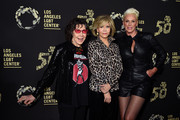 """Lily Tomlin, Jane Fonda and Brigitte Nielsen attend Los Angeles LGBT Center Celebrates 50th Anniversary With """"Hearts Of Gold"""" Concert & Multimedia Extravaganza at The Greek Theatre on September 21, 2019 in Los Angeles, California."""