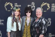 """LP (center) CEO of the Los Angeles LGBT Center Lorri Jean (right) and guest (left) attend Los Angeles LGBT Center Celebrates 50th Anniversary With """"Hearts Of Gold"""" Concert & Multimedia Extravaganza at The Greek Theatre on September 21, 2019 in Los Angeles, California."""