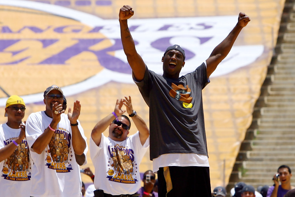Kobe Bryant and Derek Fisher Photos Photos - Los Angeles Lakers NBA Finals Championship Victory ...